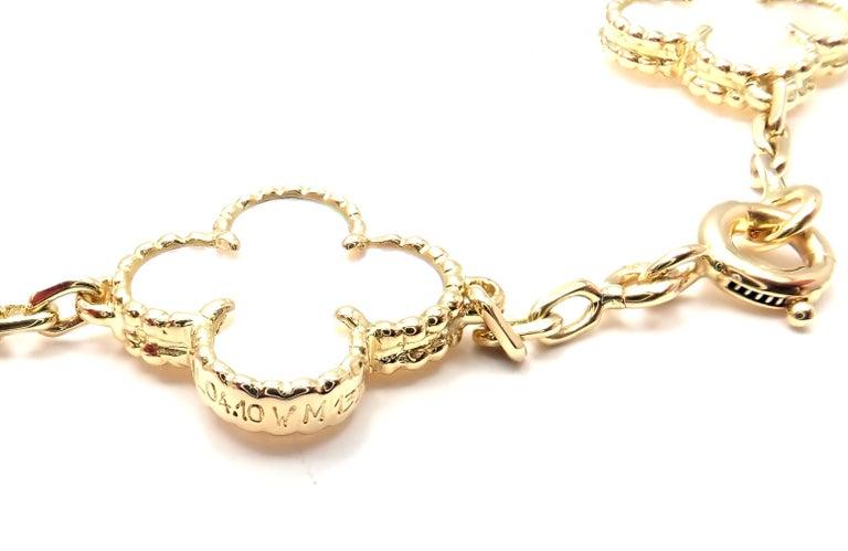 Van Cleef & Arpels Vintage Alhambra Mother of Pearl Ten Motif Gold Necklace For Sale 5