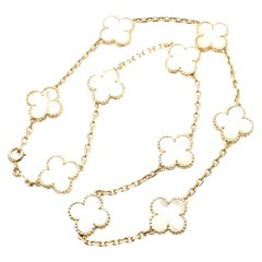 Van Cleef & Arpels Vintage Alhambra Mother of Pearl Ten Motif Gold Necklace