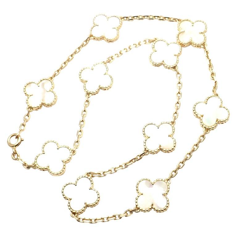 Van Cleef & Arpels Vintage Alhambra Mother of Pearl Ten Motif Gold Necklace For Sale
