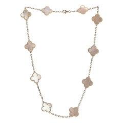 Van Cleef & Arpels Vintage Alhambra Necklace 10 Mother Pearl Motifs White Gold