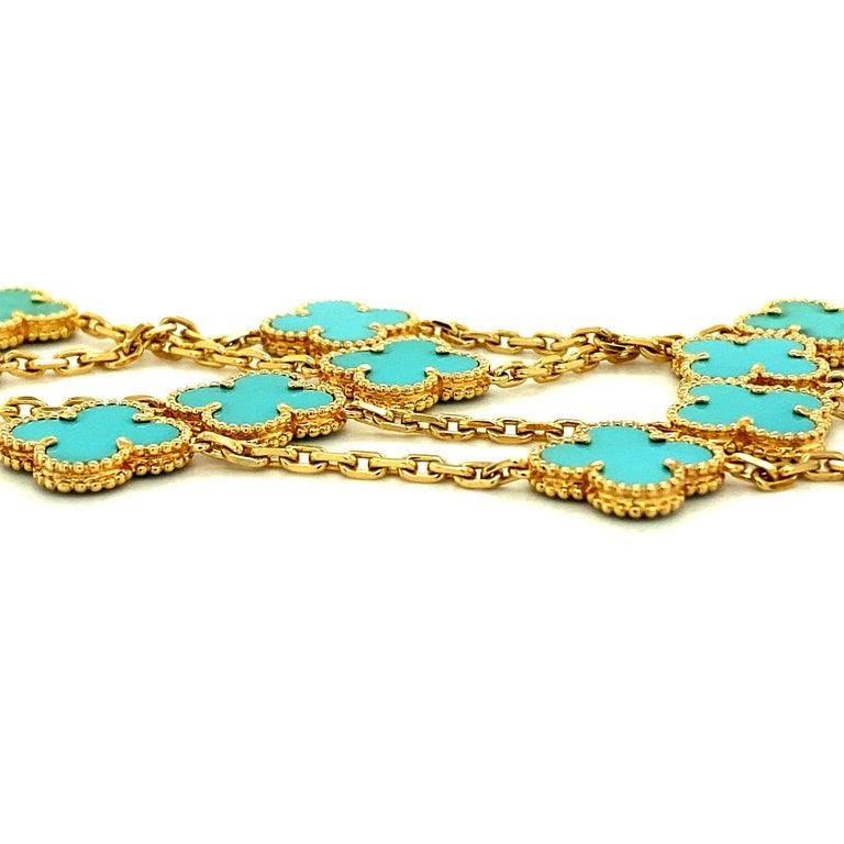 Portrait Cut Van Cleef & Arpels Vintage Alhambra Necklace 20 Turquoise Motifs For Sale