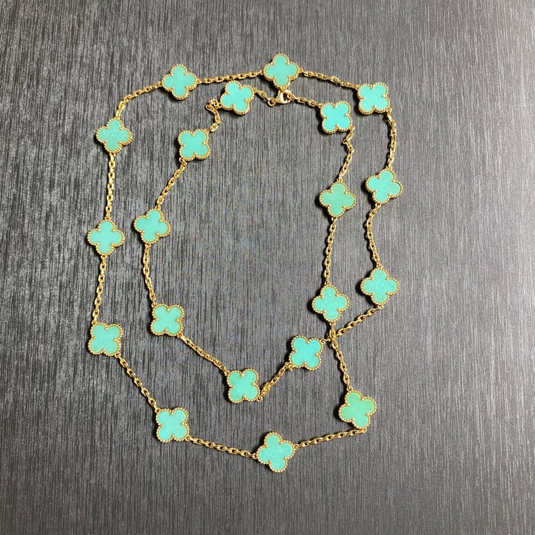 Women's Van Cleef & Arpels Vintage Alhambra Necklace 20 Turquoise Motifs For Sale