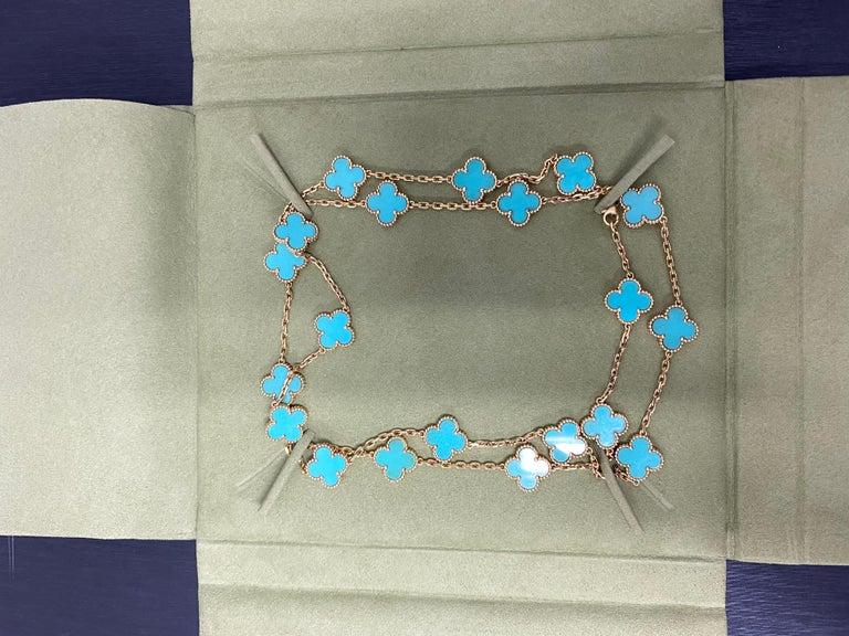 Van Cleef & Arpels Vintage Alhambra Necklace 20 Turquoise Motifs For Sale 4