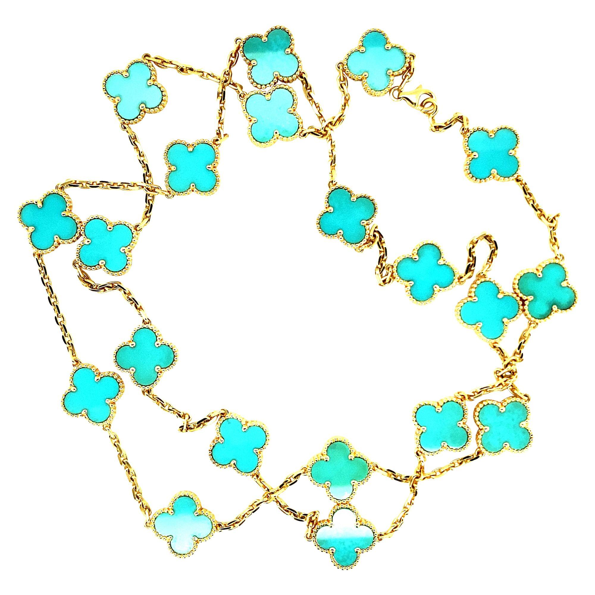Van Cleef & Arpels Vintage Alhambra Necklace 20 Turquoise Motifs