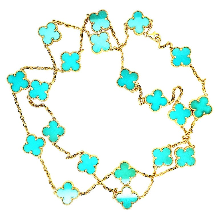 Van Cleef & Arpels Vintage Alhambra Necklace 20 Turquoise Motifs For Sale
