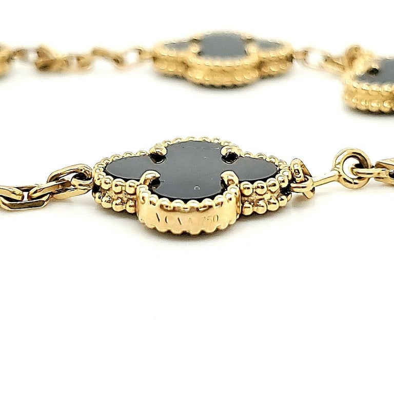 Women's Van Cleef & Arpels Vintage Alhambra Onyx Bracelet For Sale