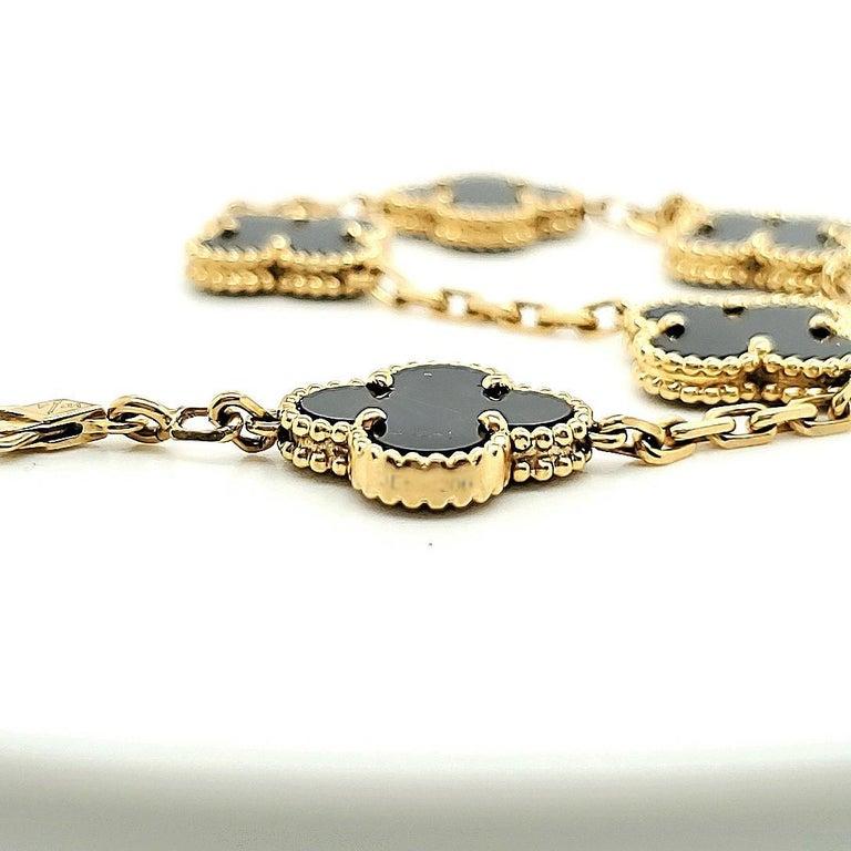 Van Cleef & Arpels Vintage Alhambra Onyx Bracelet For Sale 2