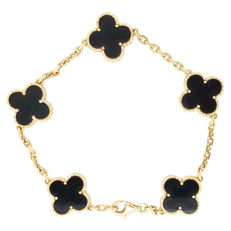 Van Cleef & Arpels Vintage Alhambra Onyx Bracelet For Sale