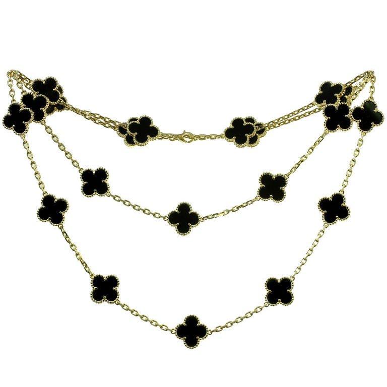 55d697c0a978 Van Cleef   Arpels Vintage Alhambra Onyx Yellow Gold 20 Motif Necklace