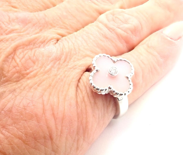 Van Cleef & Arpels Vintage Alhambra Pink Opal Diamond White Gold Ring For Sale 5