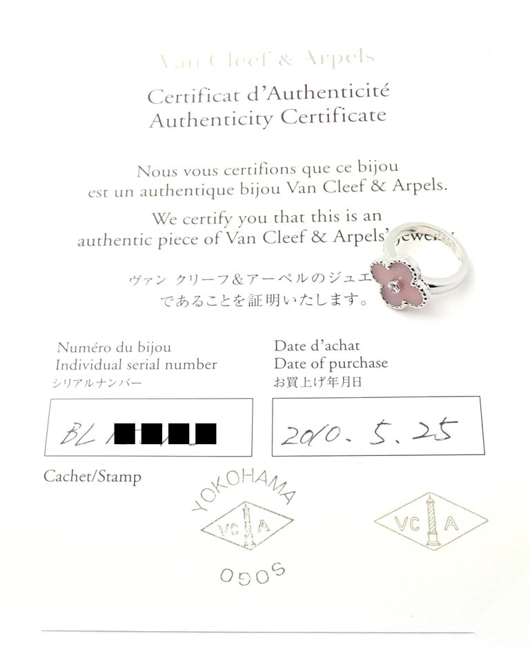 Brilliant Cut Van Cleef & Arpels Vintage Alhambra Pink Opal Diamond White Gold Ring For Sale