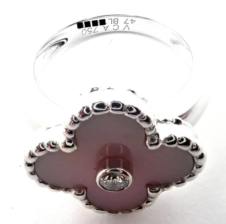 Van Cleef & Arpels Vintage Alhambra Pink Opal Diamond White Gold Ring For Sale 2
