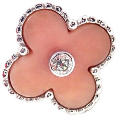 Van Cleef & Arpels Vintage Alhambra Pink Opal Diamond White Gold Ring