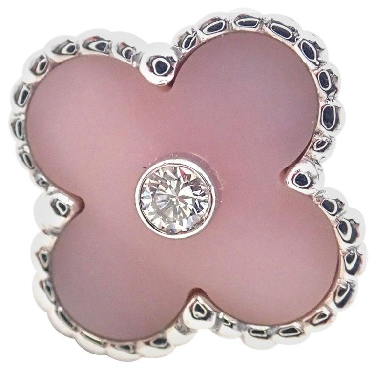 Van Cleef & Arpels Vintage Alhambra Pink Opal Diamond White Gold Ring For Sale