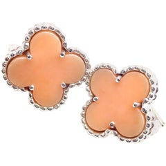 Van Cleef & Arpels Vintage Alhambra Pink Opal White Gold Earrings