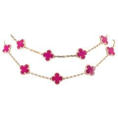 Van Cleef & Arpels Vintage Alhambra Pink Porcelain De Sevres 20 Motif Necklace