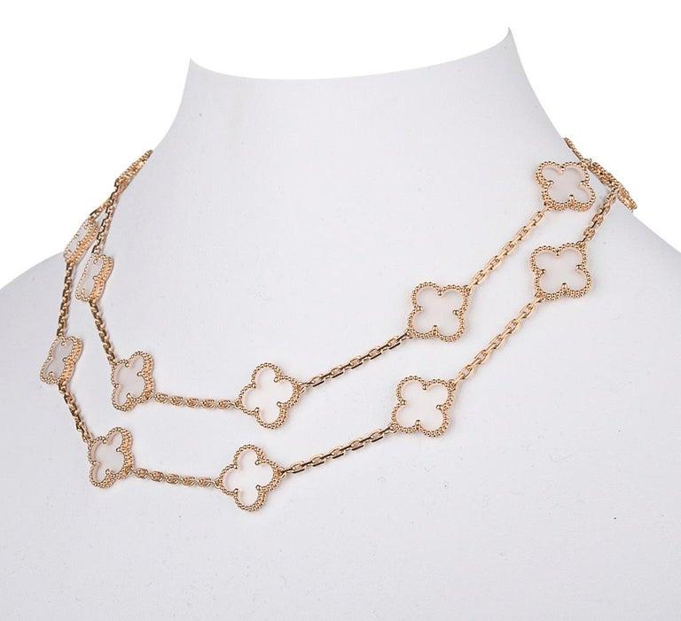 Van Cleef & Arpels Vintage Alhambra Rock Crystal 20 Motif Necklace In New Condition In Miami, FL