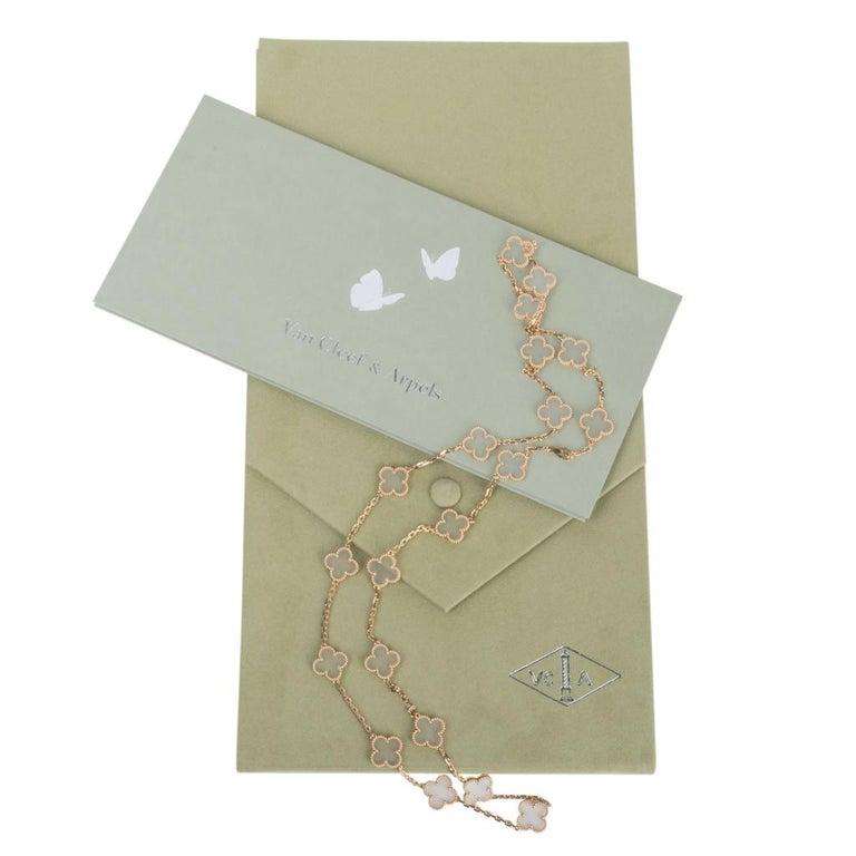 Women's Van Cleef & Arpels Vintage Alhambra Rock Crystal 20 Motif Necklace