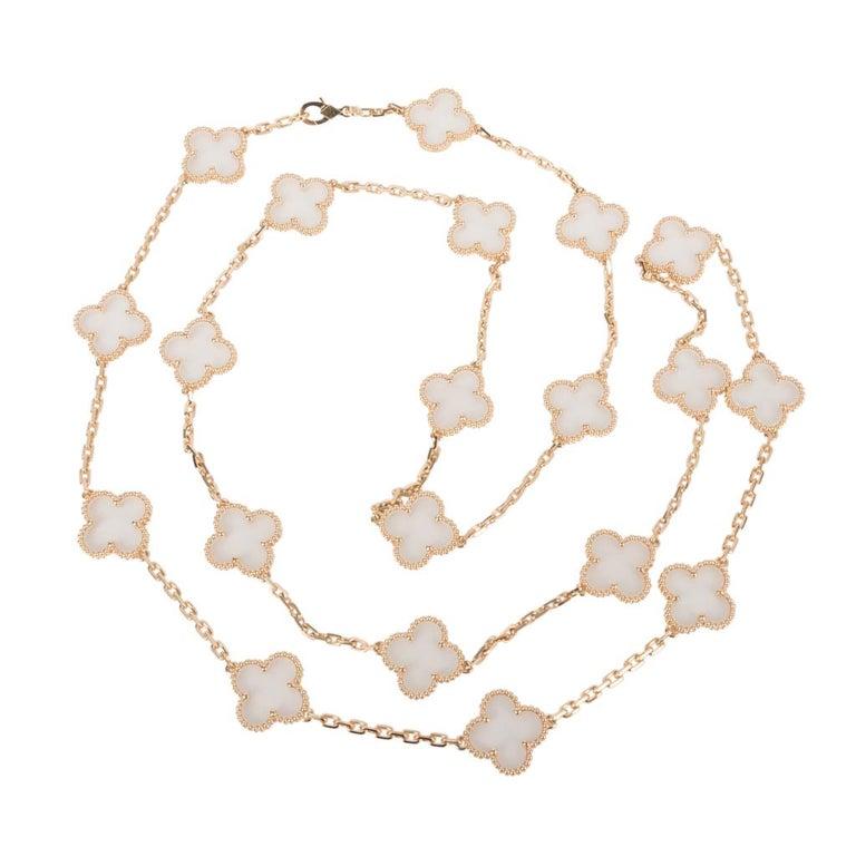 Van Cleef & Arpels Vintage Alhambra Rock Crystal 20 Motif Necklace 1