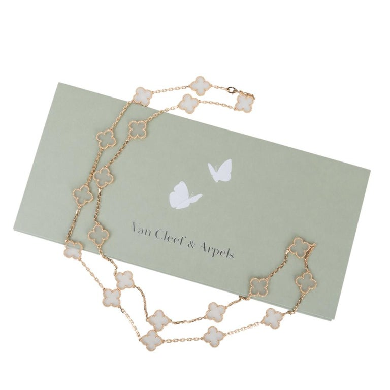 Van Cleef & Arpels Vintage Alhambra Rock Crystal 20 Motif Necklace 5