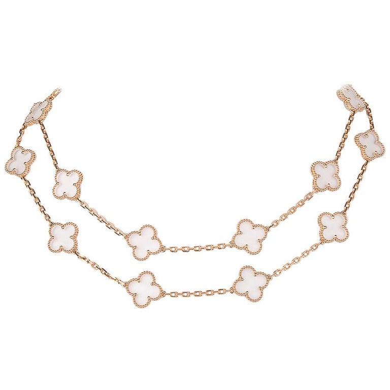 Van Cleef & Arpels Vintage Alhambra Rock Crystal 20 Motif Necklace