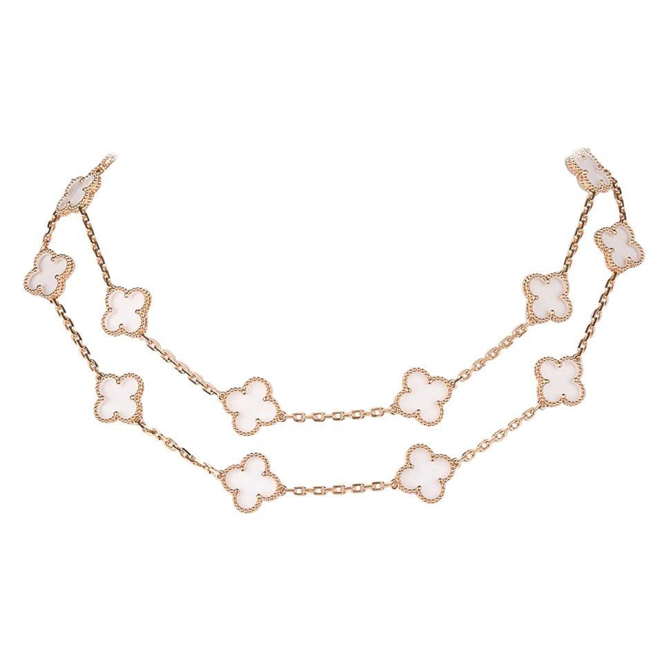 Van Cleef & Arpels Vintage Alhambra Rock Crystal 20 Motif Necklace New
