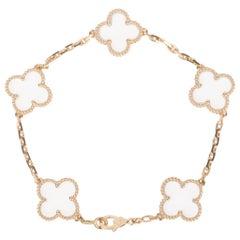 Van Cleef & Arpels Vintage Alhambra Rock Crystal Yellow Gold Bracelet Rare