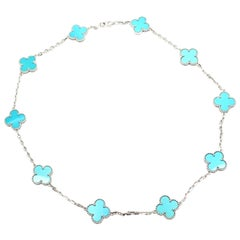 Van Cleef & Arpels Vintage Alhambra Turquoise 10 Motif White Gold Necklace