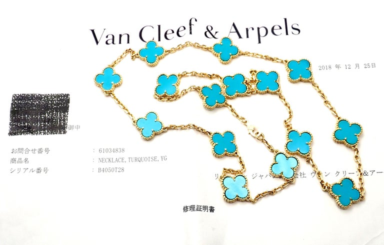 Van Cleef & Arpels Vintage Alhambra Turquoise 15 Motif Yellow Gold Necklace For Sale 5