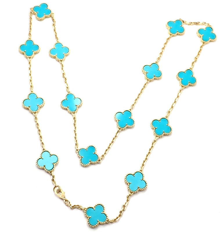Van Cleef & Arpels Vintage Alhambra Turquoise 15 Motif Yellow Gold Necklace For Sale 6