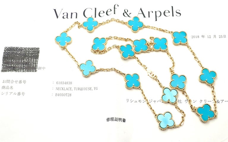 Round Cut Van Cleef & Arpels Vintage Alhambra Turquoise 15 Motif Yellow Gold Necklace For Sale