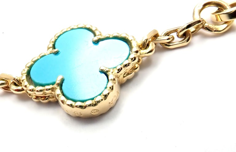 Van Cleef & Arpels Vintage Alhambra Turquoise 15 Motif Yellow Gold Necklace In Excellent Condition For Sale In Holland, PA