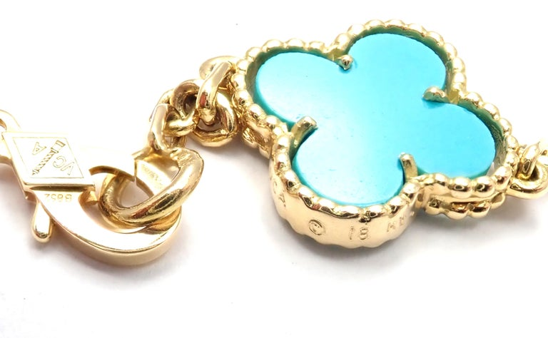 Women's or Men's Van Cleef & Arpels Vintage Alhambra Turquoise 15 Motif Yellow Gold Necklace For Sale