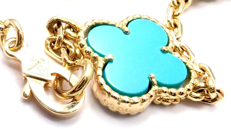 Van Cleef & Arpels Vintage Alhambra Turquoise 15 Motif Yellow Gold Necklace For Sale 1