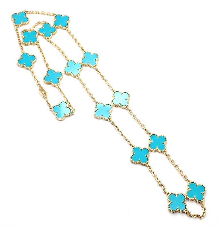 Van Cleef & Arpels Vintage Alhambra Turquoise 15 Motif Yellow Gold Necklace For Sale 2