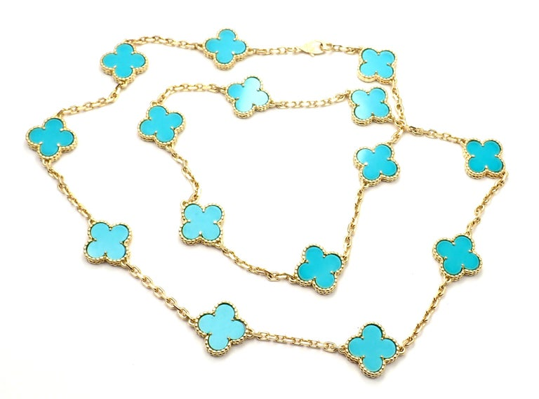 Van Cleef & Arpels Vintage Alhambra Turquoise 15 Motif Yellow Gold Necklace For Sale 3