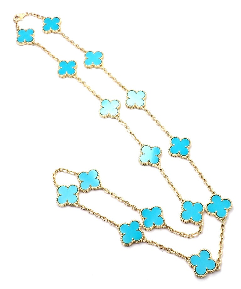Van Cleef & Arpels Vintage Alhambra Turquoise 15 Motif Yellow Gold Necklace For Sale 4