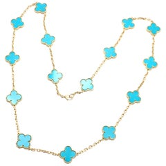 Van Cleef & Arpels Vintage Alhambra Turquoise 15 Motif Yellow Gold Necklace