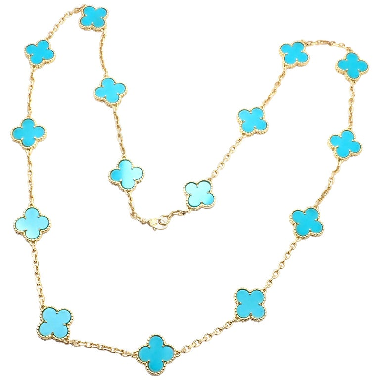 Van Cleef & Arpels Vintage Alhambra Turquoise 15 Motif Yellow Gold Necklace For Sale
