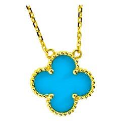 Van Cleef & Arpels Vintage Alhambra Turquoise and 18 Karat Gold Pendant