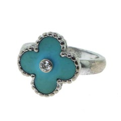 Van Cleef & Arpels Vintage Alhambra Turquoise Ring with Diamond