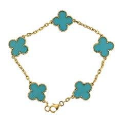 Van Cleef & Arpels Vintage Alhambra Turquoise White Gold 5 Motif Bracelet