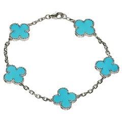 Van Cleef & Arpels Vintage Alhambra Turquoise White Gold Bracelet