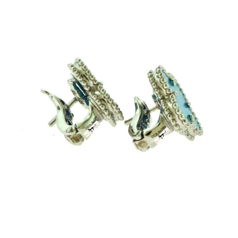 Van Cleef & Arpels Vintage Alhambra Turquoise White Gold Earrings, Rare In Good Condition For Sale In Miami, FL
