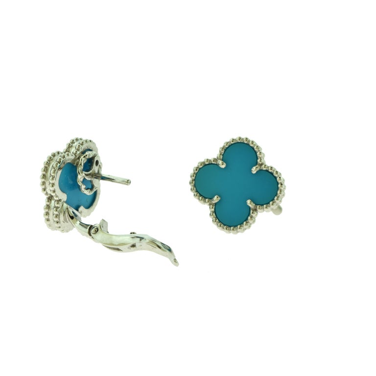 Van Cleef & Arpels Vintage Alhambra Turquoise White Gold Earrings, Rare For Sale 1