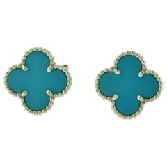 Van Cleef & Arpels Vintage Alhambra Turquoise White Gold Earrings, Rare