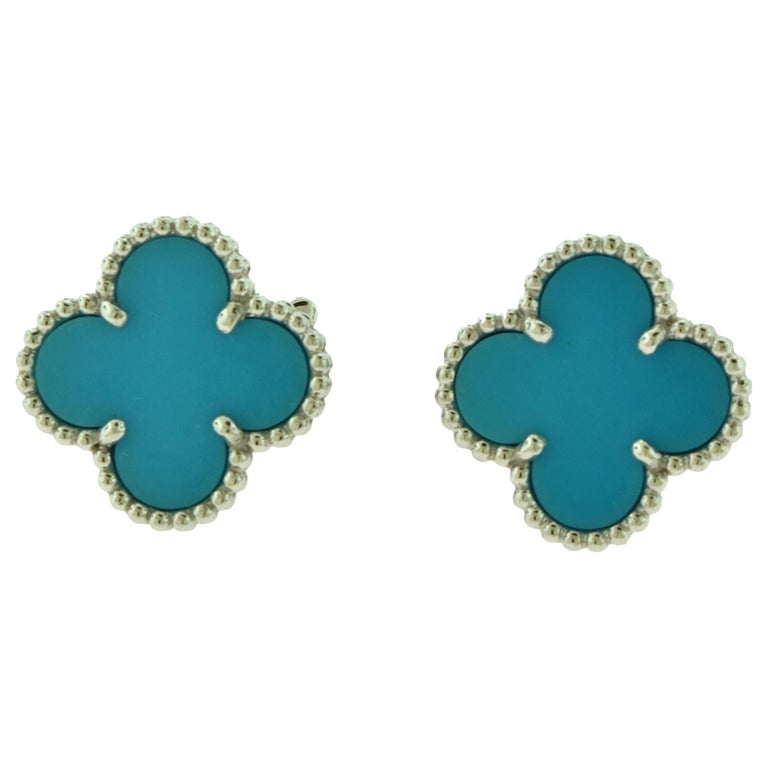 Van Cleef & Arpels Vintage Alhambra Turquoise White Gold Earrings, Rare For Sale