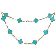 Van Cleef & Arpels Vintage Alhambra Turquoise Yellow Gold 10 Motif Necklace