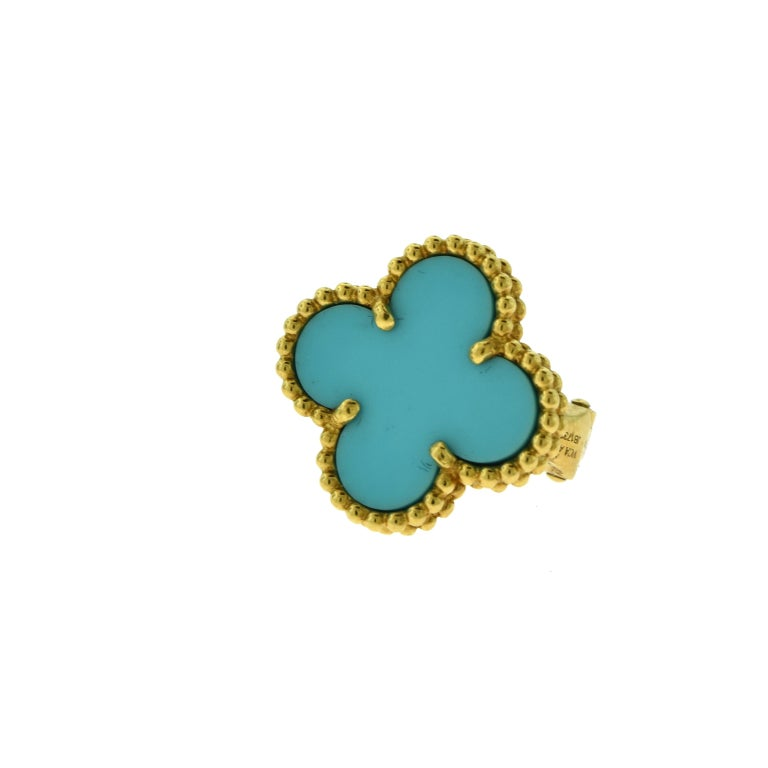Designer: Van Cleef & Arpels  Collection: Vintage Alhambra  Style: 1 Motif Studs  Stones: Turquoise Onyx   Metal Type: Yellow Gold  Metal Purity: 18k  Total Item Weight (grams): 7.2  Earring Dimensions: 12.87 mm x 14.82 mm  Closure: Omega Post Backs
