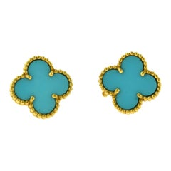 Van Cleef & Arpels Vintage Alhambra Turquoise Yellow Gold Earrings, Rare